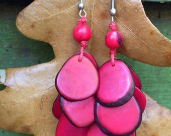 Tagua Earrings, Eco Friendly jewelry, handmade, empowering women,  tagua nut, Tagua jewelry, eco friendly earrings, red earrings, earrings