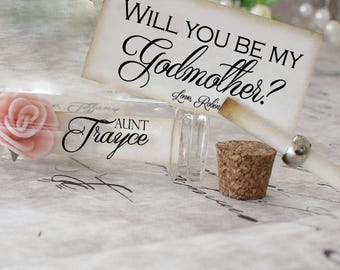Will you be my Godmother? Ask Godmother / Godfather / Godparents / miniature card  (p-025)