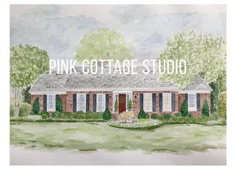 Custom housewarming gift, Wedding gift for parents, Parent thank you gift, Custom house drawing, House painting,  Closing gift