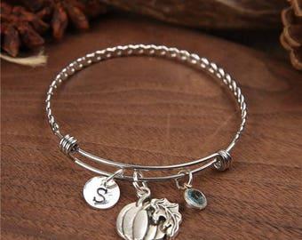 Halloween Pumpkin Bangle, Pumpkin bracelet, monogram bangle, Adjustable Bangle, Personalized Bangle, Birthstone bracelet, Initial Bangle