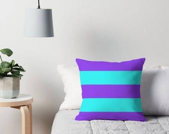 Purple Aqua Pillow, Purple Stripe Pillow, Purple Aqua Pillow Case, Purple Aqua Bedding, Aqua Purple Pillow, Purple Bedroom, Aqua Room