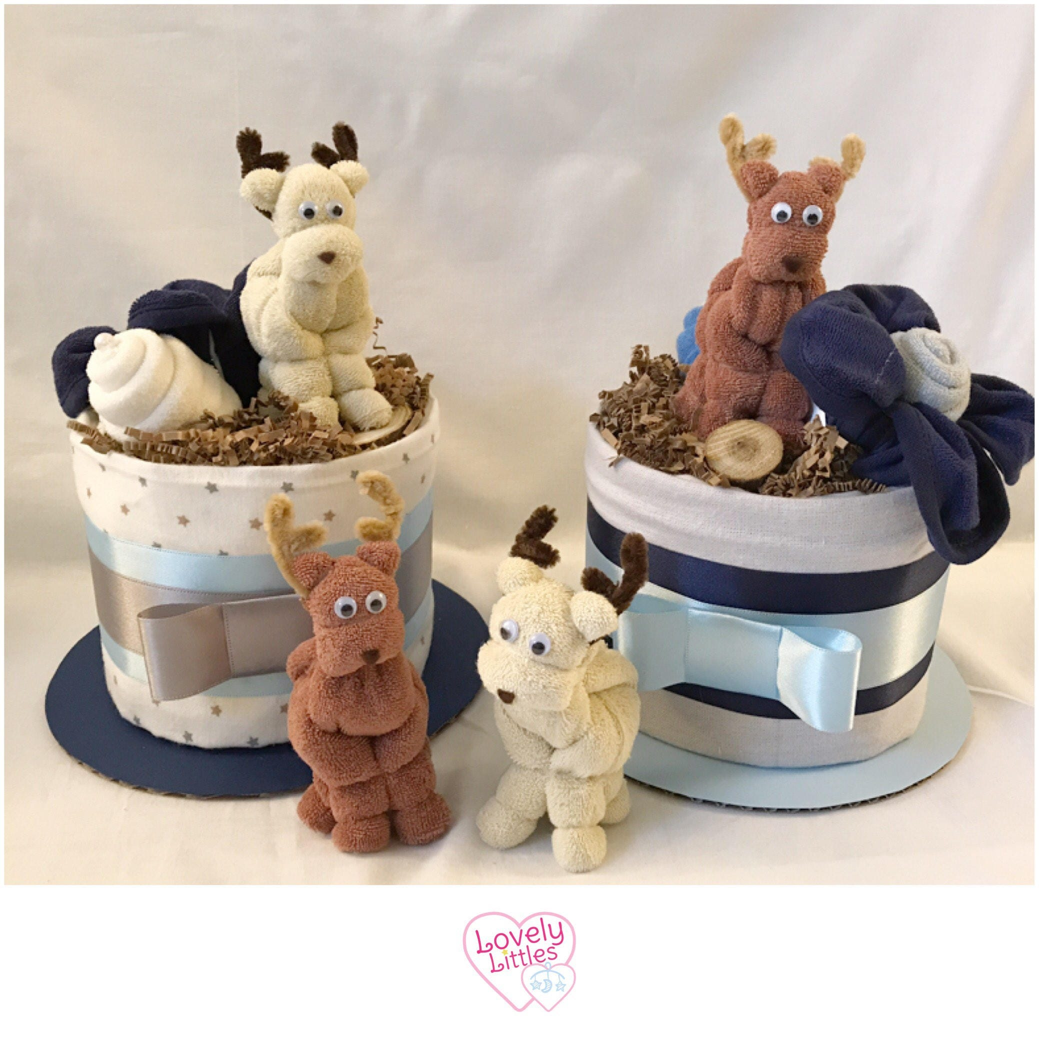 Deer Themed Baby Shower Decor Deer Mini Diaper Cakes Baby Shower