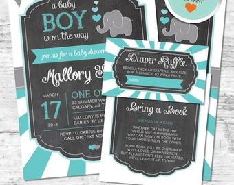 Elephant Baby Shower Invitation, Elephant Invitation, Teal, Gray, Flags, Stripes, Chalkboard (Bubbles) | DIY