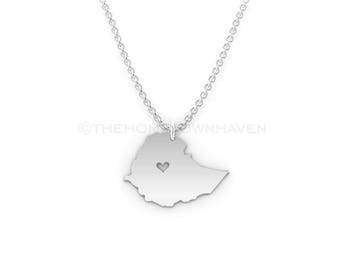 Ethiopia Necklace - Ethiopian Pride, I heart Ethiopia, Ethiopia map necklace