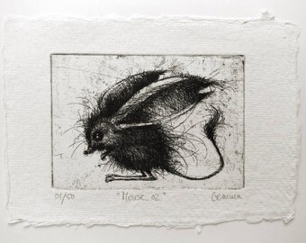 Mouse 02 - original handpulled etching - black and white - illustration
