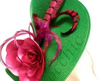 Green and pink fascinator, green wedding hat, green fascinator feathers, pink derby hat, hats and fascinators, green cocktail hat, races hat