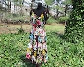 Vintage BOHO DRESS, Full Tiered Midi Skirt, Peasant Hippie dress, Summer Festival dress, flowy cotton gauze floral print on brown, BEAUTIFUL