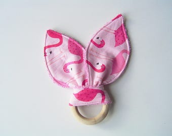 "Teething ring ""flamingos"" in cotton and sponge inspiration Montessori"