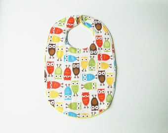 """Large bib """"owls"""" in cotton and sponge 12-24 months"""