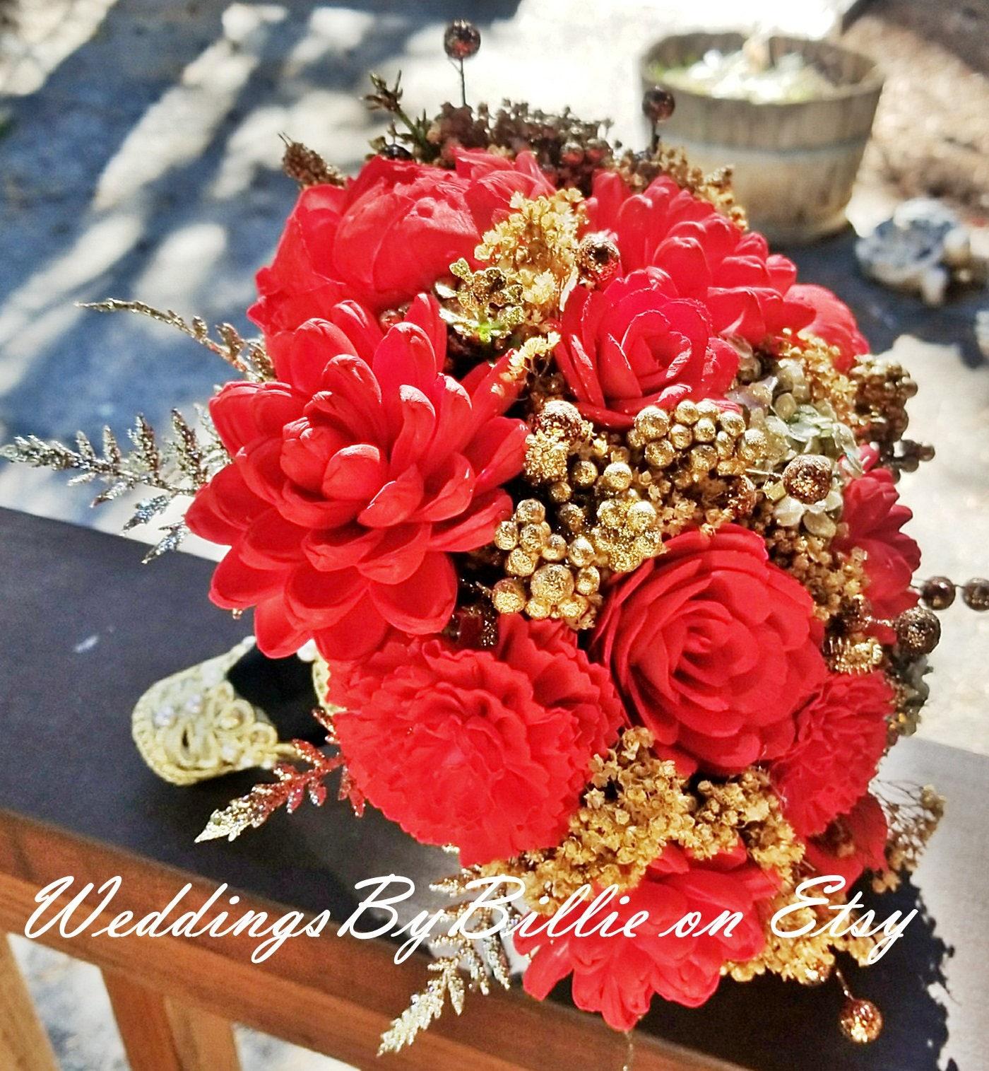 Red Sola Wedding Bouquet Great Gatsby