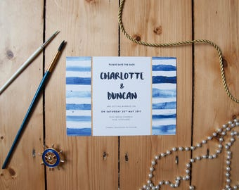 1 x Ahoy Navy Shore Stripes Wedding Save the Date with white envelope Sample