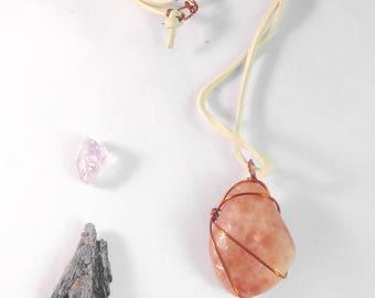 Sunstone Necklace wrapped in copper wire./ Sacral & Solar Plexus chakra healing