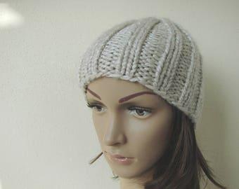 Free shipping hand knit hat ecru adult unisex warm comfortable winter hat knit in round alpaca acrylic beige hat men women chunky knit hat