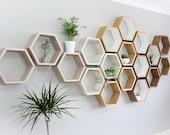 White Hexagon Wall Shelf in Solid Oak |  Limed Oak Set of Honeycomb Shelves | Hexagon Shelf