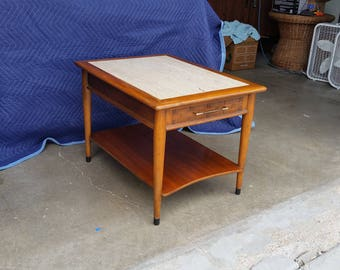 Vintage 1970's Lane Perception Side Table Marble Top Mid Century Modern Basketweave Drawer Front Lower Shelf Good Condition End Table MCM