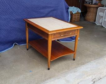 Vintage 1970u0027s Lane Perception Side Table Marble Top Mid Century Modern  Basketweave Drawer Front Lower Shelf