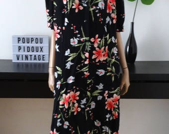 Robe vintage noire/fleurie taille 52 - uk 24 - us 20 - taille XXL