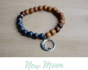 New Moon Bracelet / lunar phases, positive vibes, best selling items, meditation bracelets, energy bracelet, moon phases bracelet, larvikite