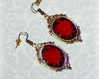 Victorian Earrings Red Gothic Black Cameo Rose Vintage Style Steampunk Dangle Antique Gold
