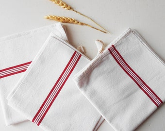 """3 French Striped Towels Vintage Tea Towels Red Stripes Cotton Hand Stitched """"AC"""""""