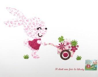 Appliqués thermocollants lapin brouette fleurs tissu liberty Mickaël rose, Mitsi valeria applique à repasser patch écusson iron on bunny
