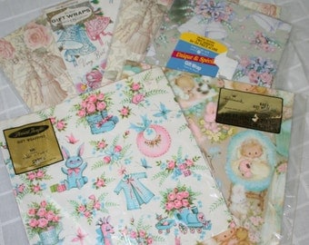 Lot of 6 packages-Vintage/ Retro Wedding and Baby Gift Wrap. Wrapping Paper, Hallmark, New Baby. Wedding Bells
