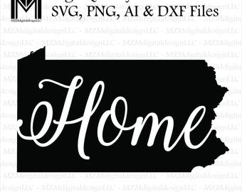 Pennsylvania svg, png, ai and dxf Files -For Commercial & Personal Use- SVG for Cricut Silhouette and Cameo - Vinyl file - Pa Home State