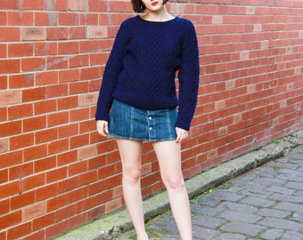 WINTER SALE 20% OFF Vintage 1970s Cable Knit Jersey / Made in Ireland / Navy Aran Jersey / Fisherman Sweater / Xs/S/M