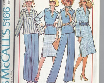 McCalls Pattern # 5166 from 1976  Misses Dress or Top, Vest and Pants  Bust 32 1/2, 34, 36.  Boho