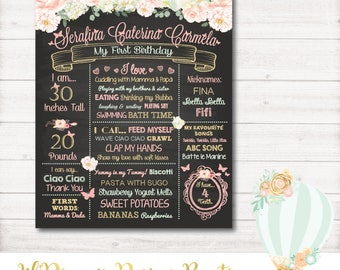 First Birthday Chalkboard, watercolor flowers, floral, birthday bio board, poster, blush pink, mint, gold, digital, printable, shabby chic