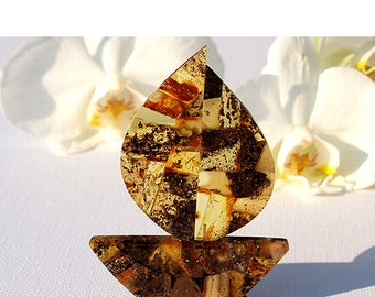 Amber Ship Souvenir From Genuine Baltic Amber