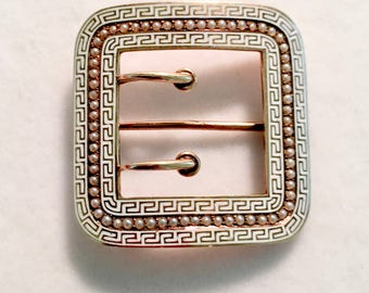 1900s Art Nouveau RIKER BROTHERS 14kt Cream Enamel & Pearl Buckle Pin Victorian Sash Pin Antique Jewelry gift for her