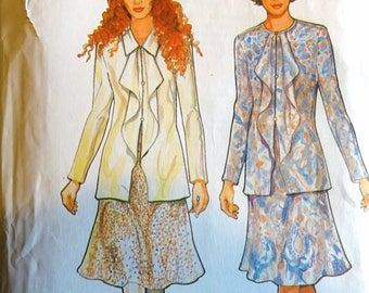 Style 2676 sewing pattern front flounce blouse with long sleeves and flared skirt Size 8, 10, 12, 14, 16, 18