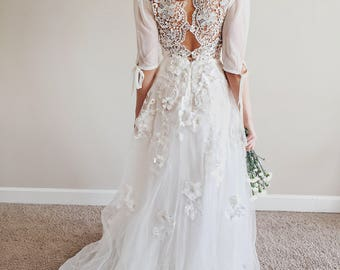 Rustic wedding dress etsy malibu dress bohemian wedding dress crochet lace back boho romantic rustic wedding dress junglespirit Choice Image