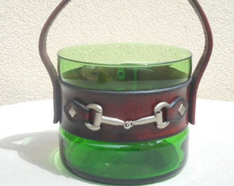 Vintage Art Glass Ice Bucket with Leather & Metal Handle - Retro 70s Bar
