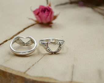 Silver Claddagh ring, Fede ring, Promise ring for her, hands with heart, Friendship for him and her jewellery, Irish unusual heart