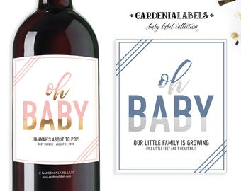 Baby Shower Champagne Labels, About to Pop Baby Sprinkle, Baby Shower Bubbly Labels, Oh Baby Pregnancy Announcement Label, Custom Wine Label