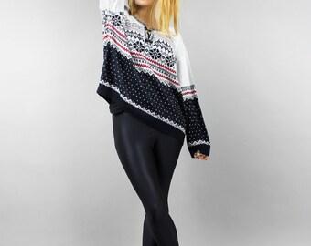 Wool Blend 80s Icelandic Pullover, Geo Print Bohemian Sweater . White Black Hipster Vintage Boho Knit Jumper . Grunge Norwegian Sweater M