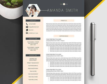 Creative Resume Template, Professional Resume Template, Cover Letter, Modern Teacher Resume, MS Word, Mac PC, Instant Download, Amanda S