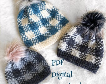 The Flannel Forrest Beanie PDF DIGITAL DOWNLOAD Crochet Pattern, Plaid crochet hat pattern, gingham crochet beanie, Women's plaid beanie pdf