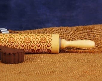 Embossing Rolling Pin, Wooden Embossed Rolling Pin, Cookie Embosser, Clay Stamp, Patterned Biscuit, Pie - EWRP366