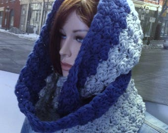 Crochet Scarf, Handmade Winter Cowl Hooded Scarf Super Thick & Warm Cowl Scarf, Reversible Colors Work for Guys Too, Ready to Ship