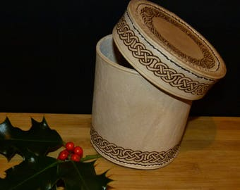 Hand Stitched & Engraved Leather Celtic Design Round Box