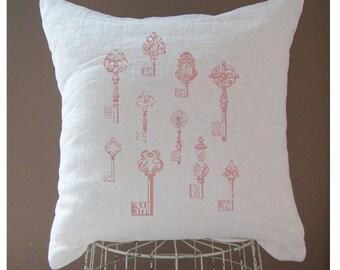 Shabby Chic Pillow. Antique Keys. Vintage Pillow. Vintage Linen Pillow. Farmhouse Style Pillow.