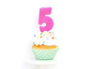 """3"""" Number 5 Candle, Giant 5 Candle, Hot Pink Party, Hot Pink Birthday, Pink Candle, Large Pink Candle, Birthday Candle, Glitter Party"""