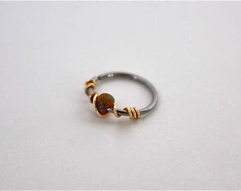 20g Gold Wire Wrapped Silver Nose Hoop/Ring with Multicolored Glass Bead, 8mm