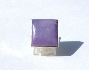 Square CHAROITE man women Silver 925 ring lucky ring healing charoite French men women gift ring women gift ring