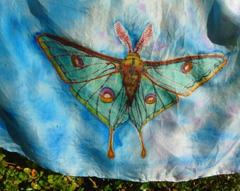 Silk scarf green moth