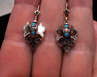 Genuine Antique Victorian Taille D'Epargne turquoise and pearl solid 10k yellow gold earrings