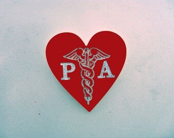 Physician Assistant pin, Caduceus PA, laser engraved, nurses brooch, ornamental pin, acrylic heart, nursing jewelry, red heart, medical pin,
